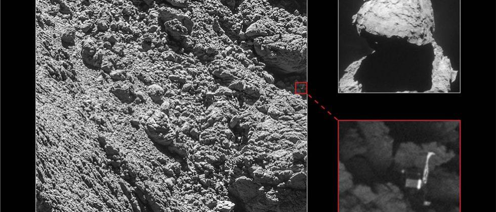 Rosetta finds Philae crammed into a crack on comet surface