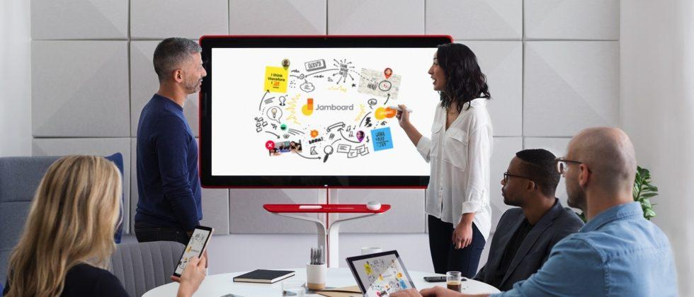 Google's Jamboard is a high tech whiteboard connected to the cloud