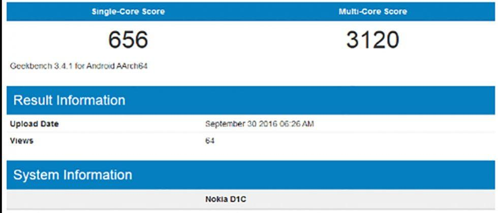Nokia D1C Android device spied on Geekbench