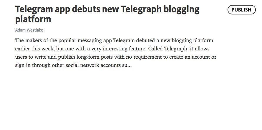 Telegram app debuts new Telegraph blogging platform