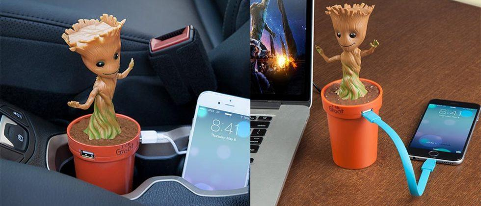 Baby Groot charger dances in your car's cupholder