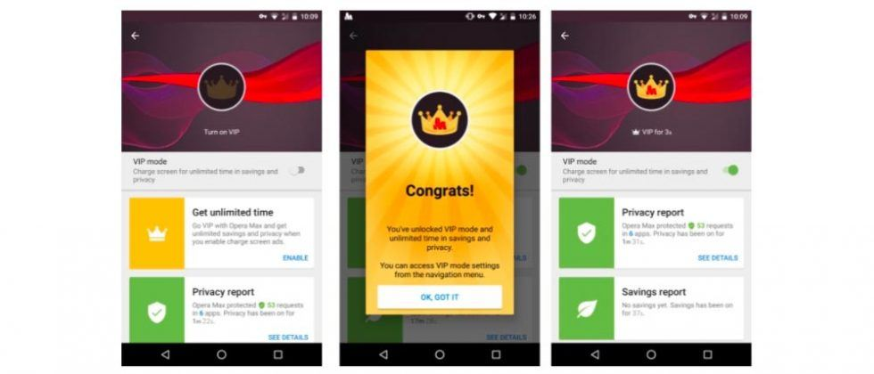 Opera Max 'VIP Mode' gives unlimited data saving…and puts an ad on your phone