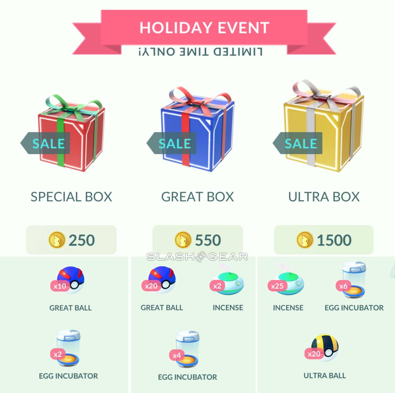 Pokemon Go Christmas Boxes.Pokemon Go Holiday Box Guide Ending 2016 With A Bang