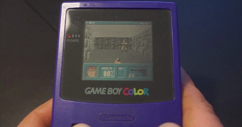 Wolfenstein 3D on unmodified GameBoy Color uses cartridge hack