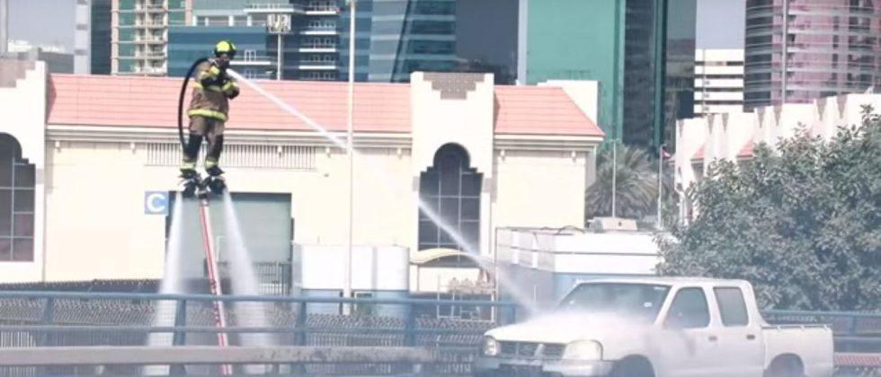 Dubai firefighters demonstrate jetpack fire extinguishers
