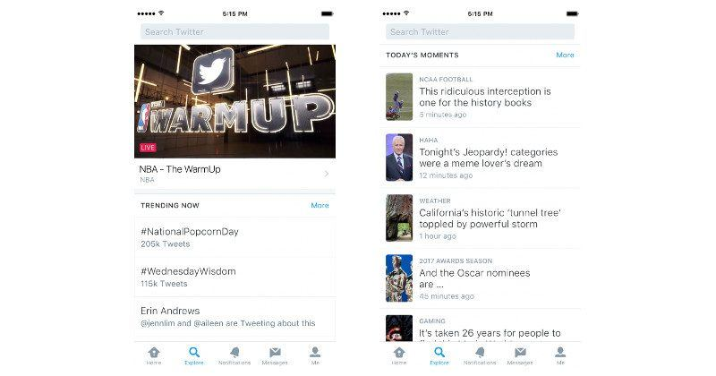 Twitter Explore dumps trends, moments, search in one place