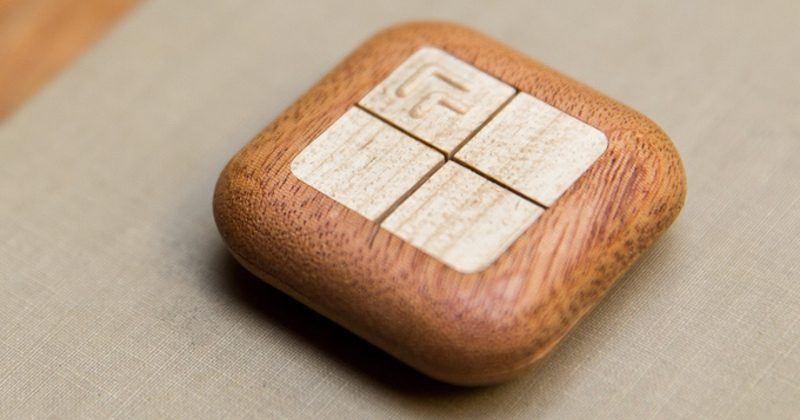 Turn Touch smart home controller is carved out of wood