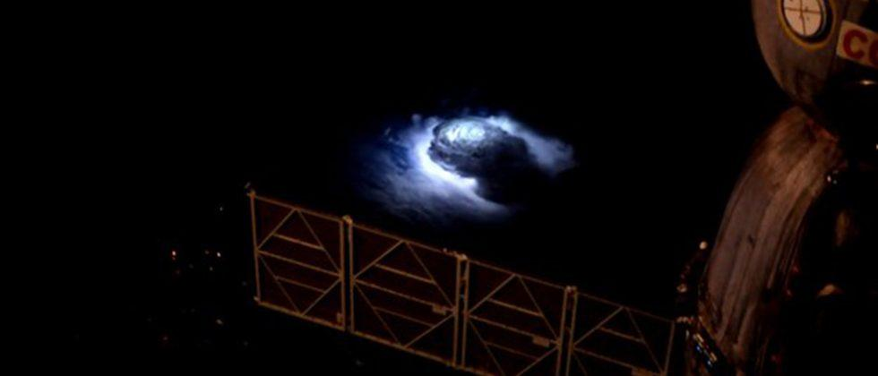 Stunning blue lightning filmed from the International Space Station