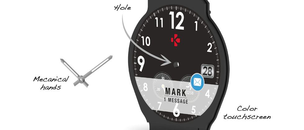 """MyKronoz watch hands """"attached by a hole cut through the color display"""""""