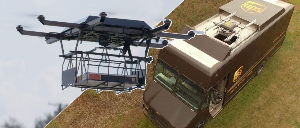 UPS drone launched from truck on delivery route