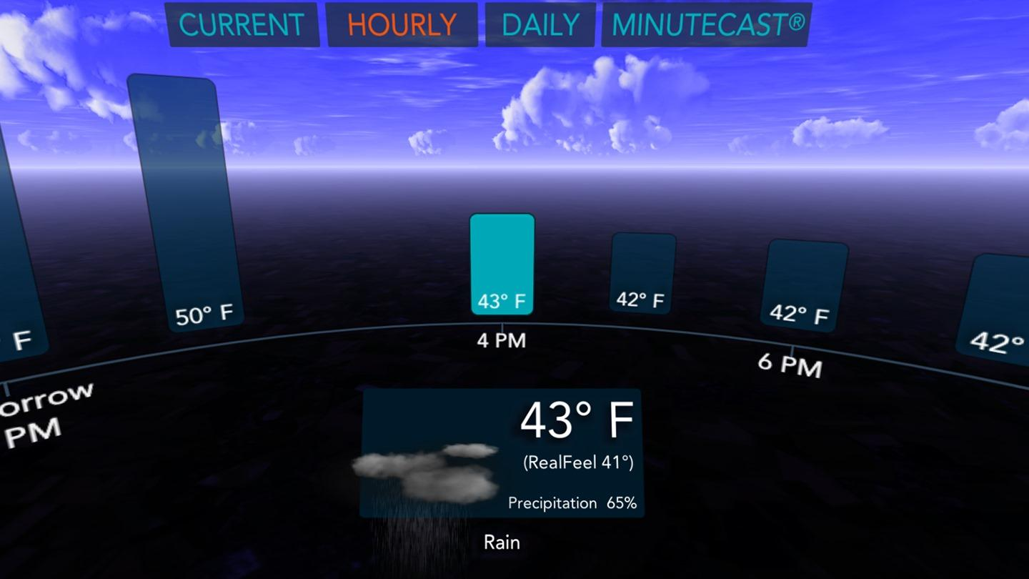 AccuWeather has a Gear VR app so you won't have to look
