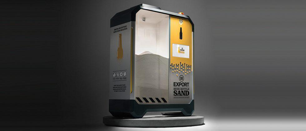 This machine crushes beer bottles into sand to save beaches