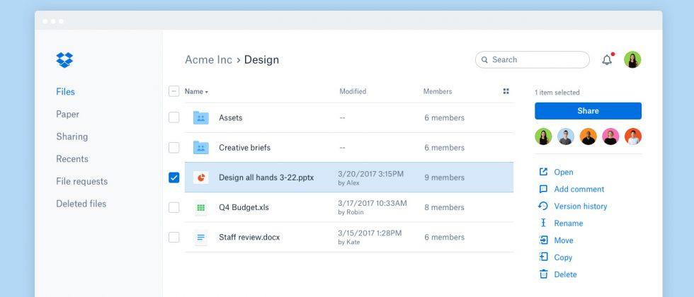 Dropbox's new online interface is faster and easier to use