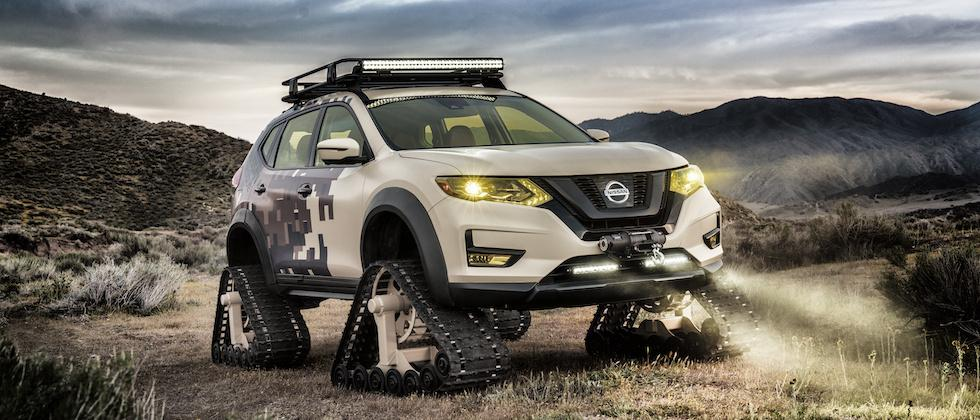 Epic Nissan Rogue Trail Warrior swaps wheels for tank tracks and camo
