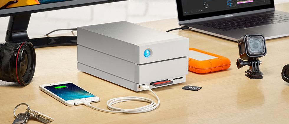 LaCie 2big Dock detailed with Thunderbolt 3, SD Card, CF Card ports