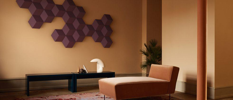Bang & Olufsen BeoSound Shape is a hexagonal wall speaker system