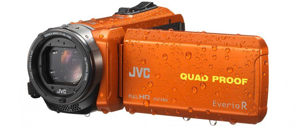 JVC GZ-R550 and GZ-R440 rugged camcorders float in water