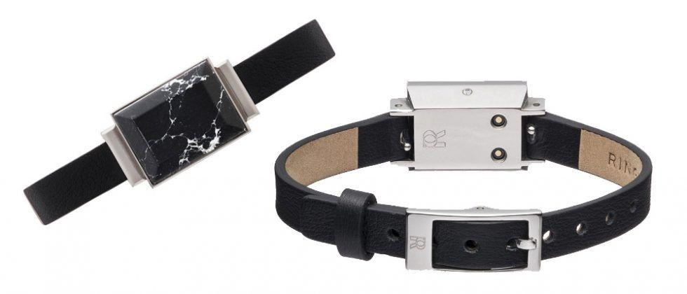 Ringly Go classy smart bracelet features leather and stone