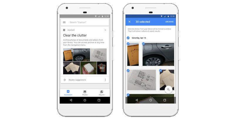 Google Photos suggests to archive photos of receipts, docs