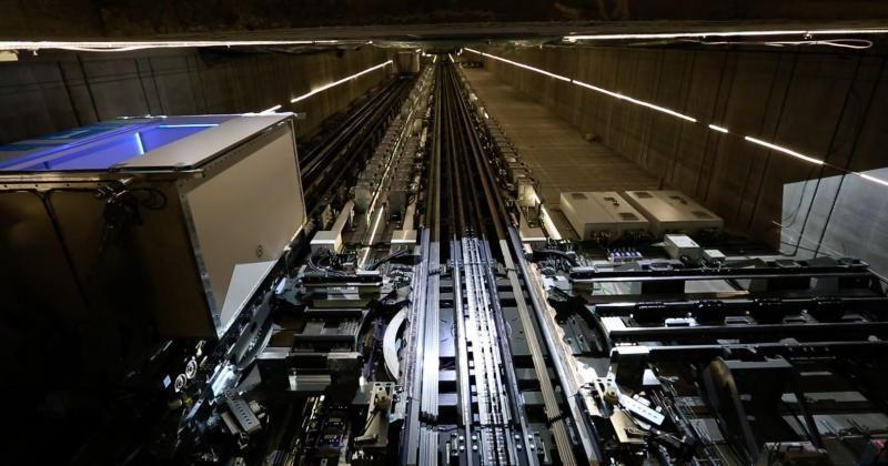 This elevator goes in all directions like a Wonkavator