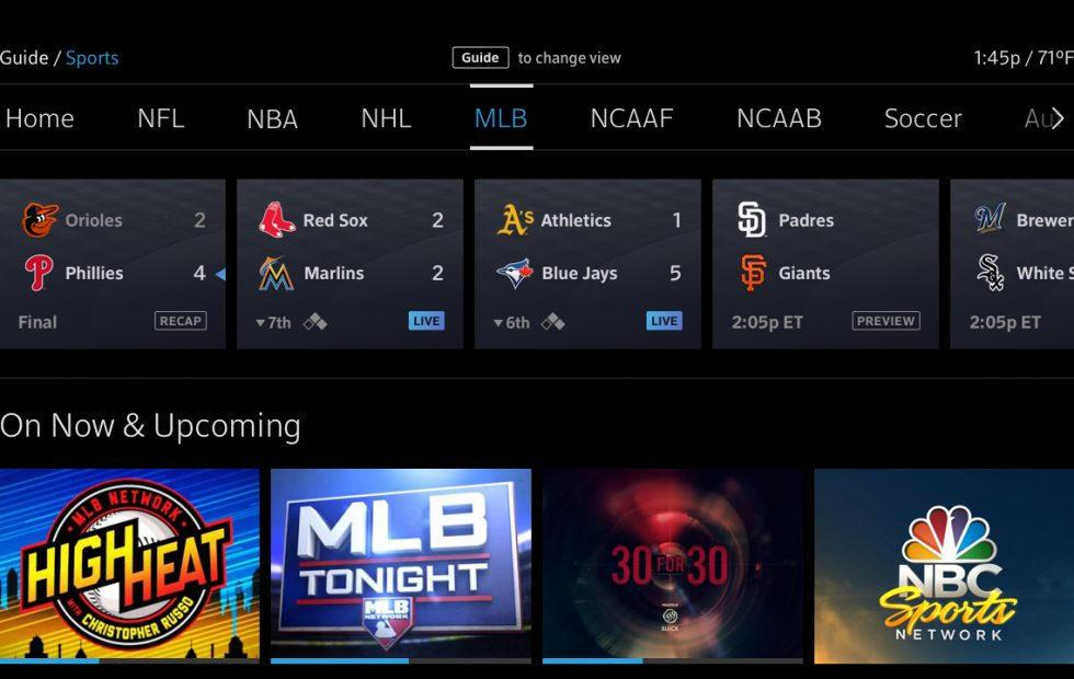 Comcast X1 sports guide aggregates leagues, games and scores