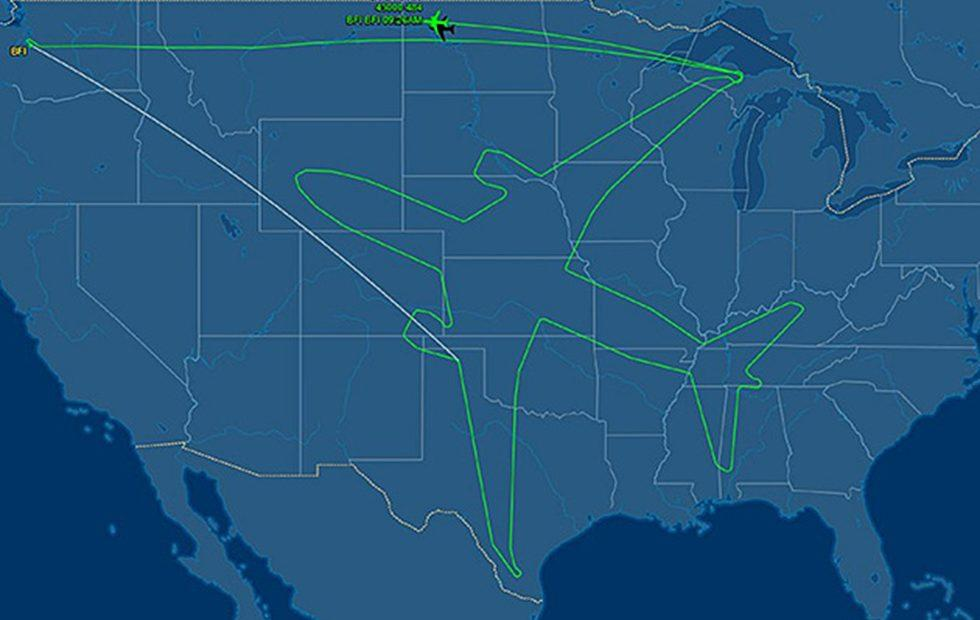 Boeing drew a giant 787 Dreamliner in the sky during 18 hour flight