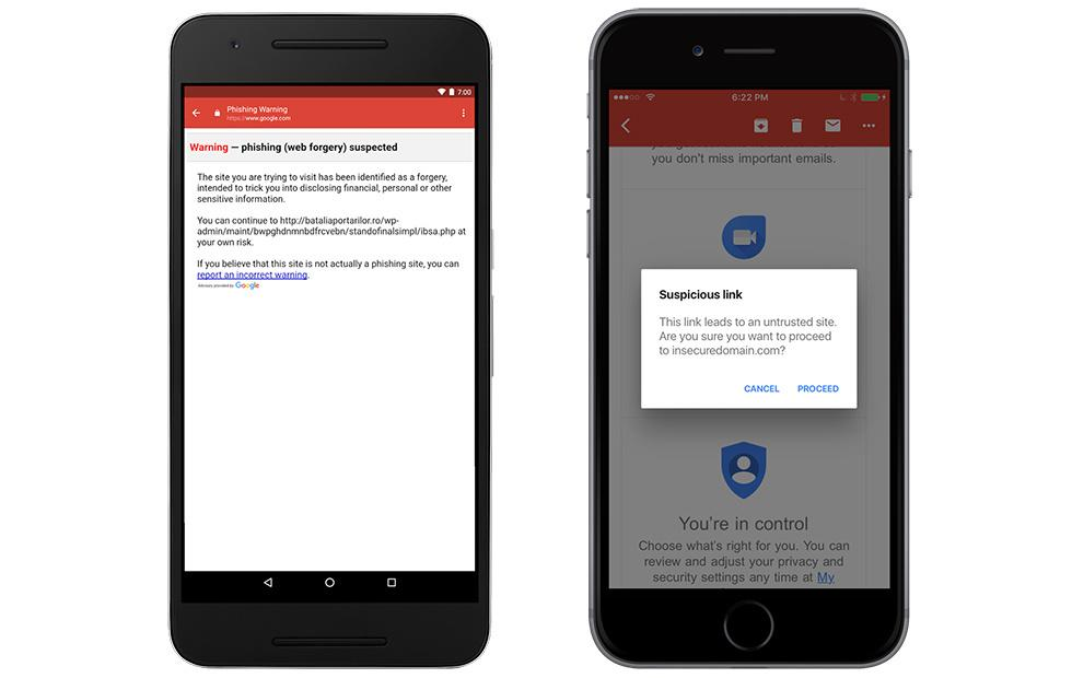 Gmail for iOS gets phishing warnings for questionable links