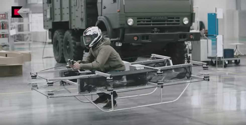 Russian military contractor unveils flying personal transport