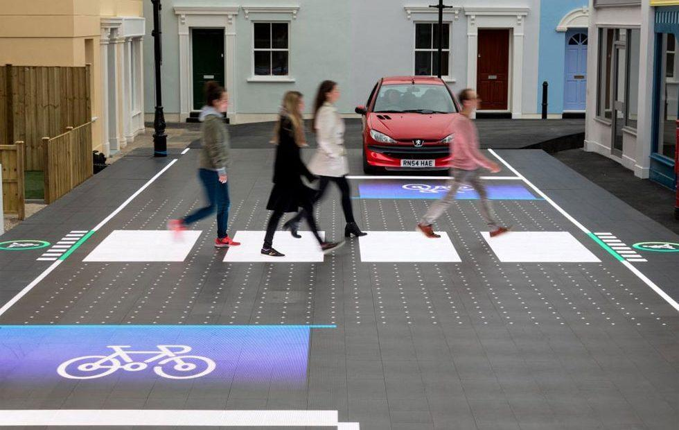 LED road surface aims to detect pedestrians and warn of road hazards