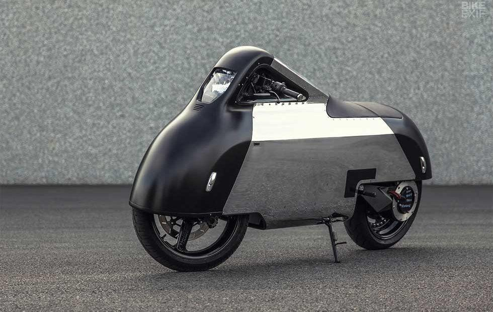 "Electric ""Hope"" Vectrix VX-1 motorcycle looks straight out of '50s scifi"
