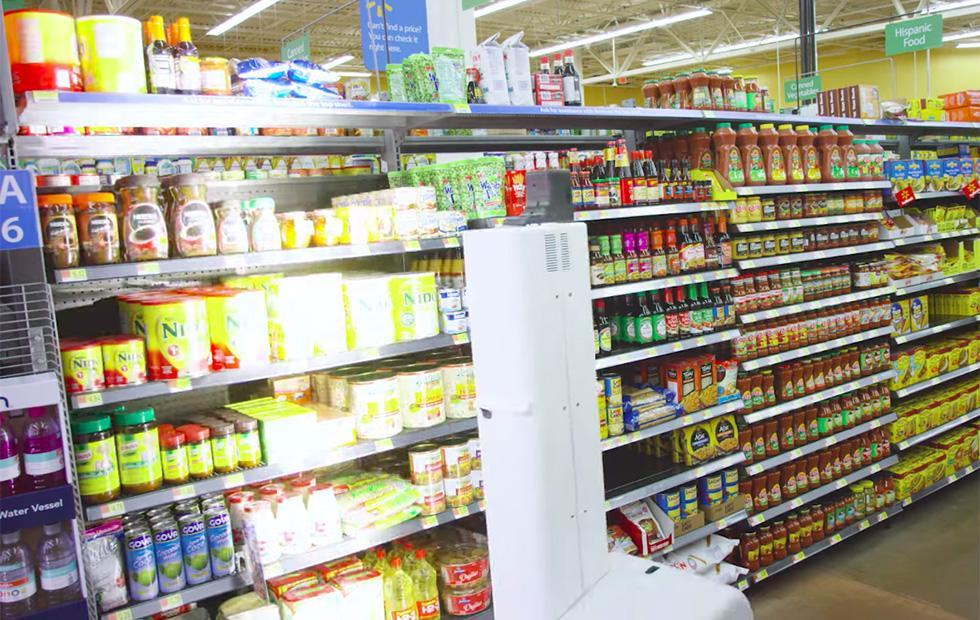 Walmart robot scans shelves to find items and check inventory