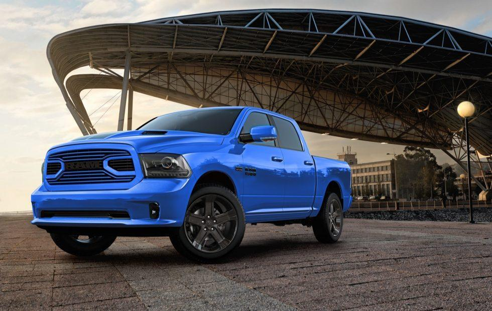 Ram's 2018 1500 Hydro Blue Sport pickup is about as subtle as a Raptor