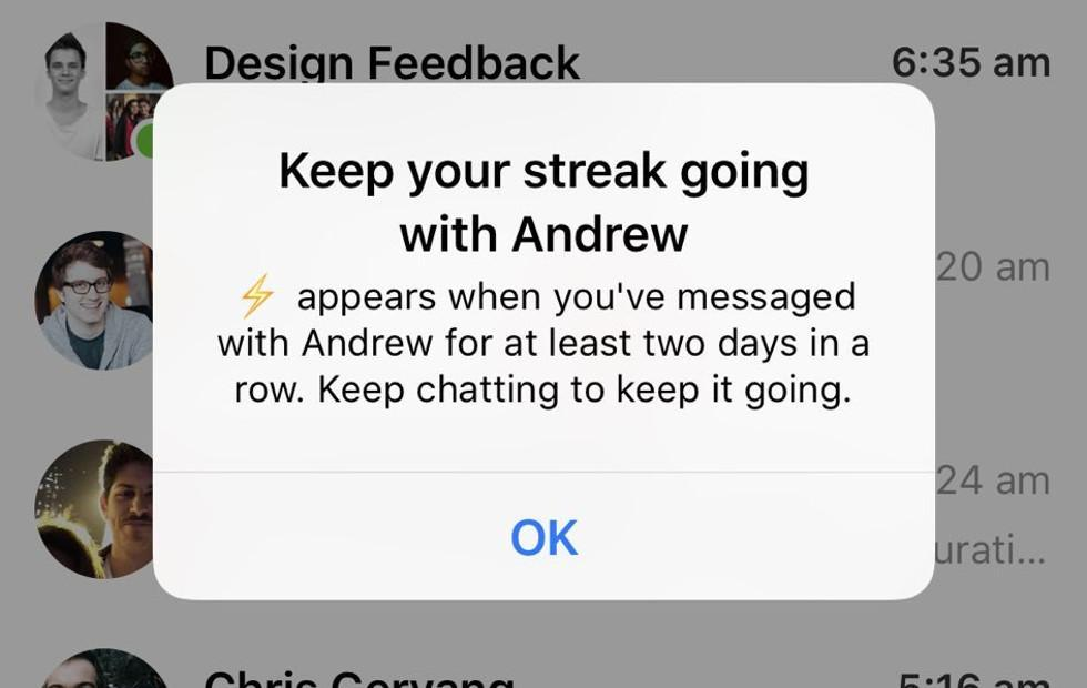 Facebook does a Snapchat with messaging Streaks