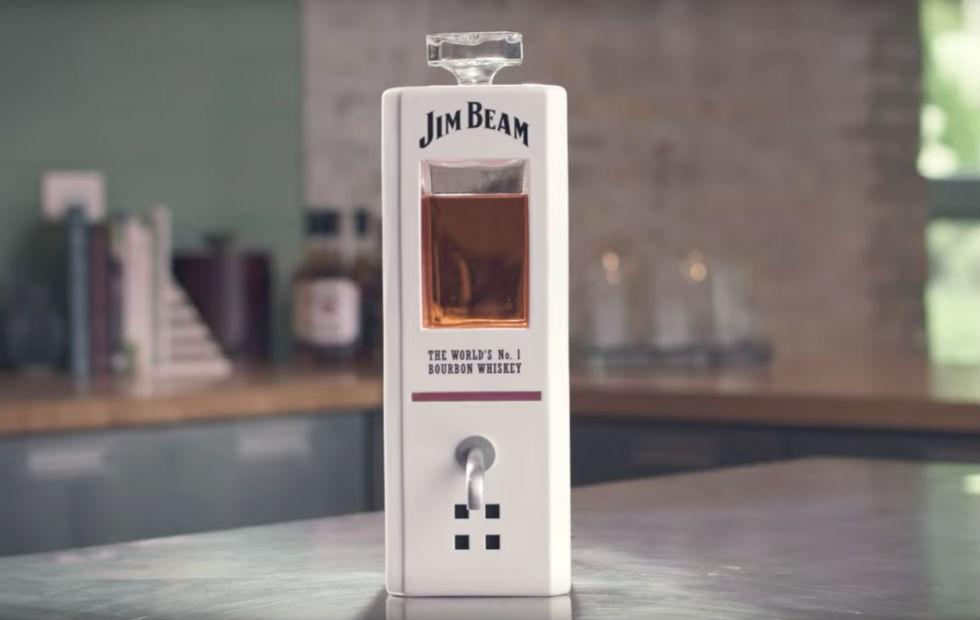 Jim Beam smart decanter answers questions and pours whiskey