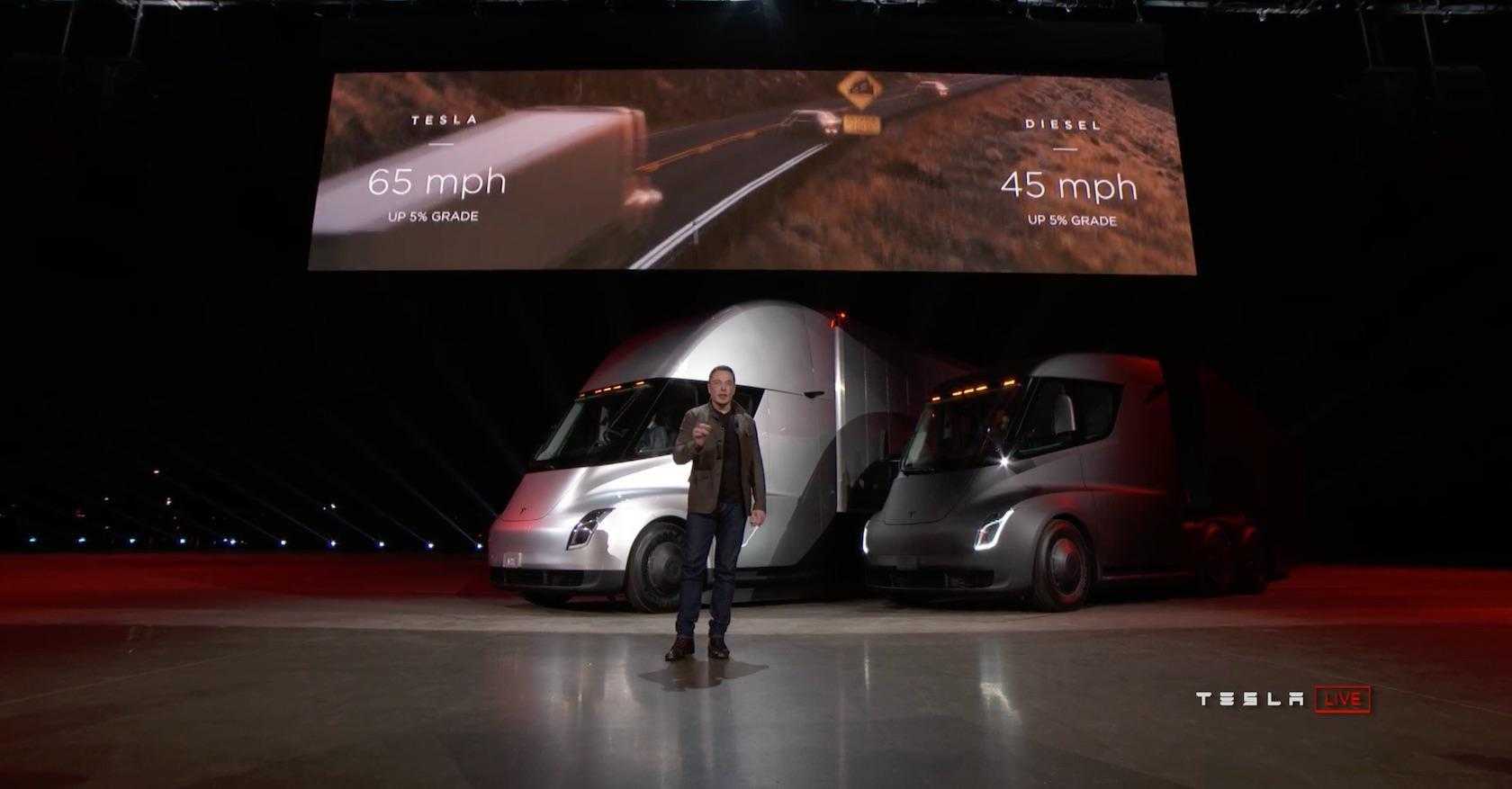 Truck Ever Tesla Said Today Four Independent Motors Provide Maximum And Acceleration Require The Lower Sic Energy Cost Per Mile