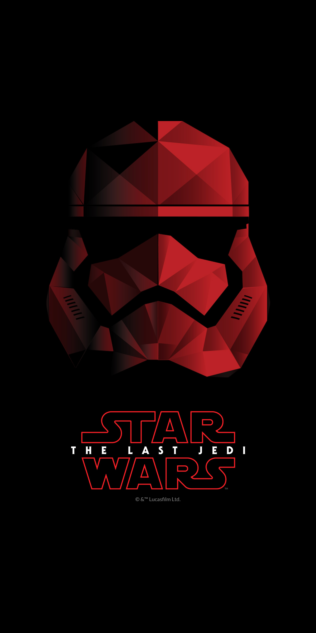 The first wallpaper shows the Star Wars: The Last Jedi logo. Next you'll find a dual-image of Kylo Ren, one in black, the other in red.