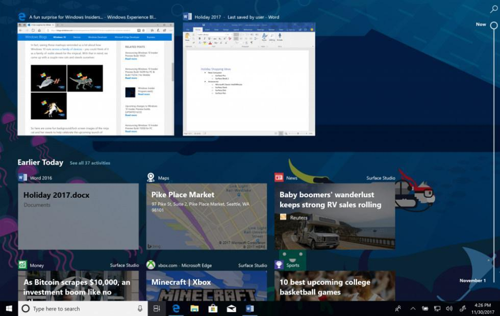 Windows 10 Timeline feature arrives in preview build 17063