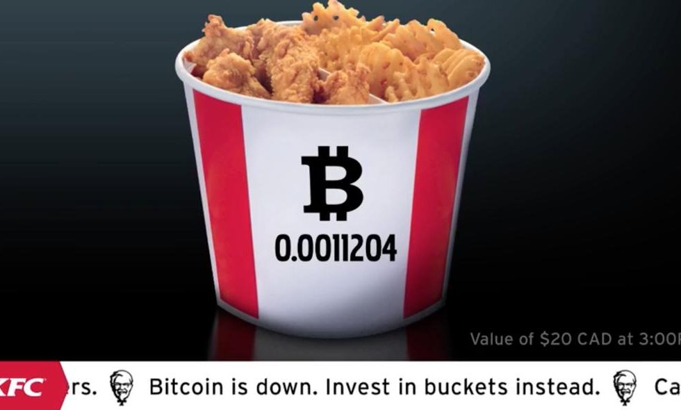 KFC Canada offered BTC-themed chicken in Bitcoin Bucket