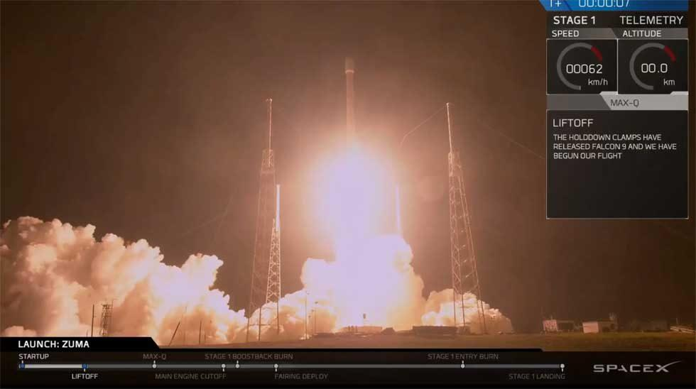 SpaceX Falcon 9 successfully launches secret Zuma mission into orbit