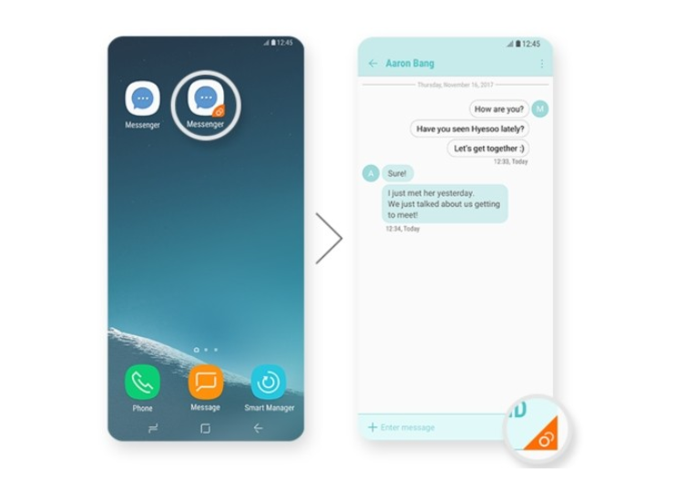 Samsung Experience 9 0 detailed: Dual Messenger, Color Lens