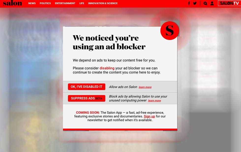 Salon asks ad-blocking visitors to mine cryptocurrency