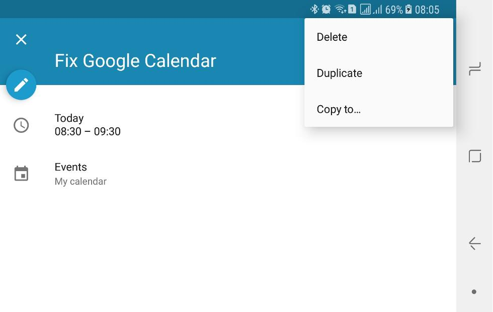 Google Calendar Android app can't move events, here's a fix