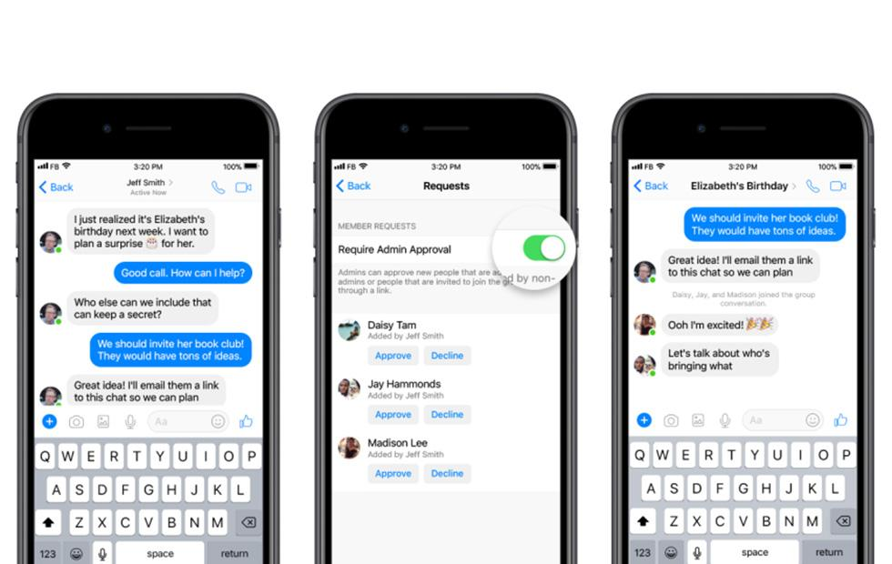 Facebook Messenger adds admin privileges for group chats