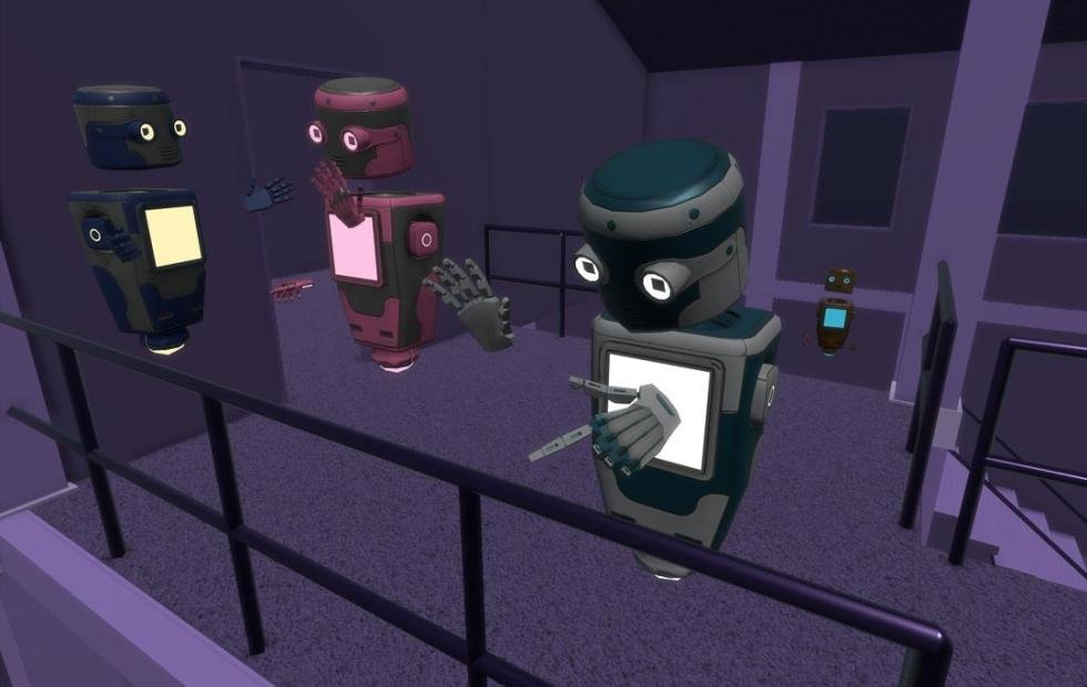 Mozilla Hubs is a browser-based VR chatroom with robot avatars