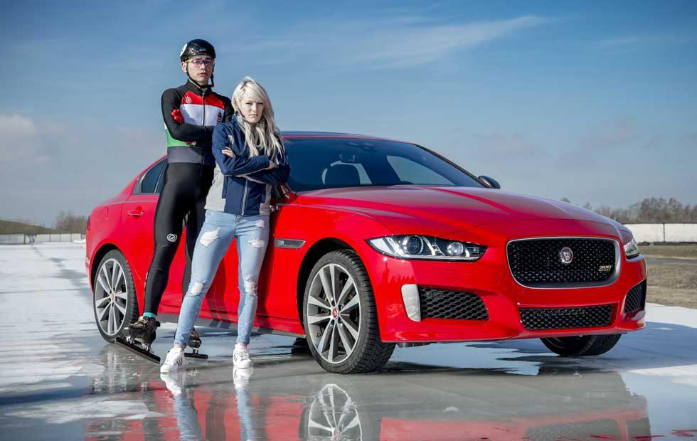 Jaguar XE 300 Sport races Olympic speed skater on ice