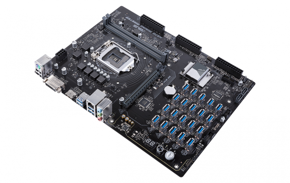 ASUS Bitcoin miner motherboard runs 20 GPUs at once