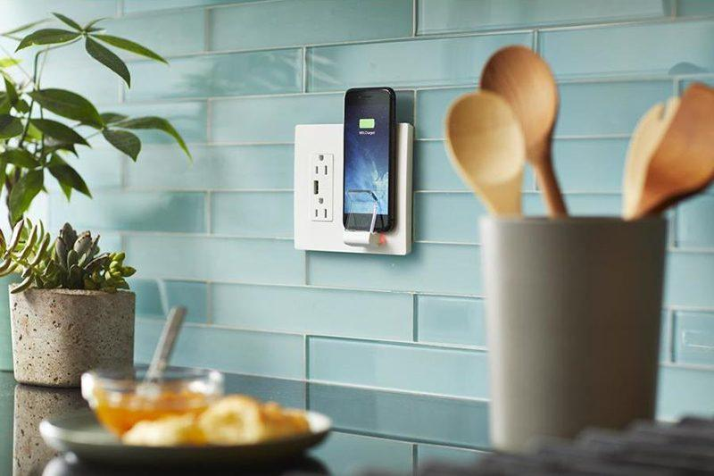 Legrand Radiant wall plate has a vertical Qi wireless charger