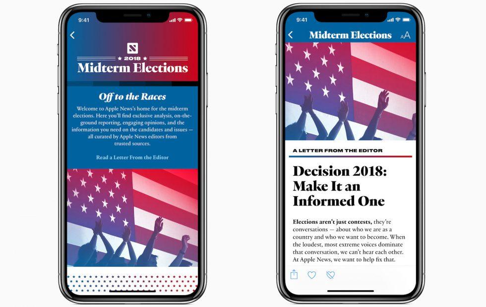 Apple News 2018 Midterm Elections section puts US politics in spotlight