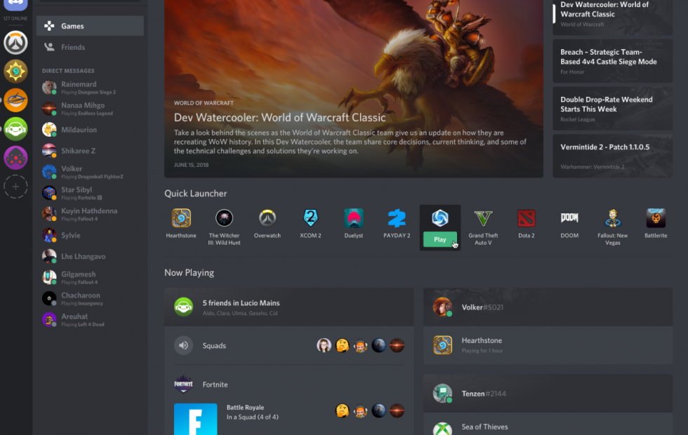 Discord's Games tab is a launcher, news feed, and friends
