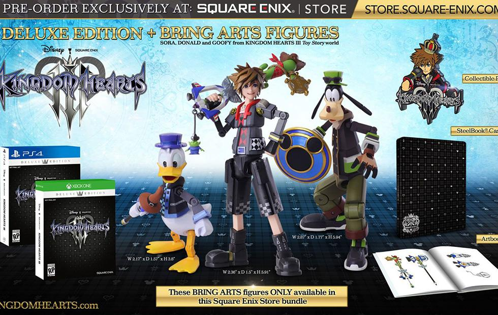 Kingdom Hearts 3 Deluxe Edition detailed: three toys, art and more